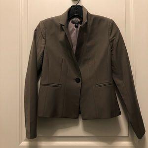 Ann Taylor Gray Brown Cropped Wool Blazer 00P